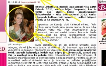 Ohoo! Xenia Likhachevast sai Buduaaris Miss Earth Brazil 2011 Driely Bennettone'i pildiga Ksenja Lihhatšova